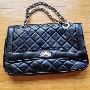 Black ASOS silver chain quilted cross body bag